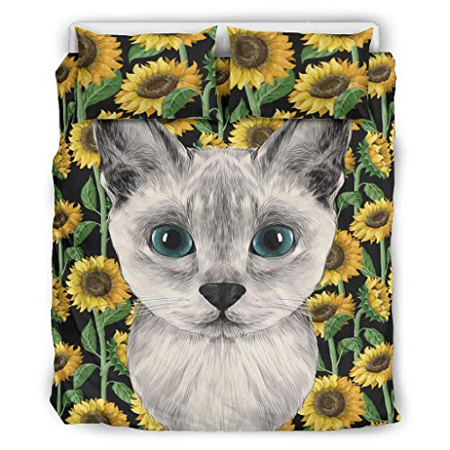 XJJ88 Bettdecken-Set für Katzen, Tiere, Western-Stil, 3-teiliges Set mit Bettdecken- und Kissenbezügen, weich und pflegeleicht, Polyester, weiß, 90x90 inch