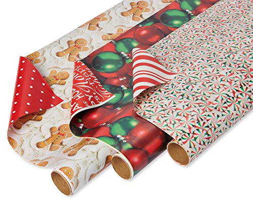 American Greetings Reversible Christmas Wrapping Paper, Gingerbread Men, Peppermint and Ornaments (3 Pack, 120 sq. ft.)