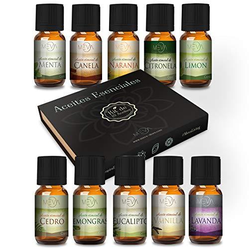 MEVA kit de 10 aceites aromaterapia difusor de aromas humificador spa ambientador esencias