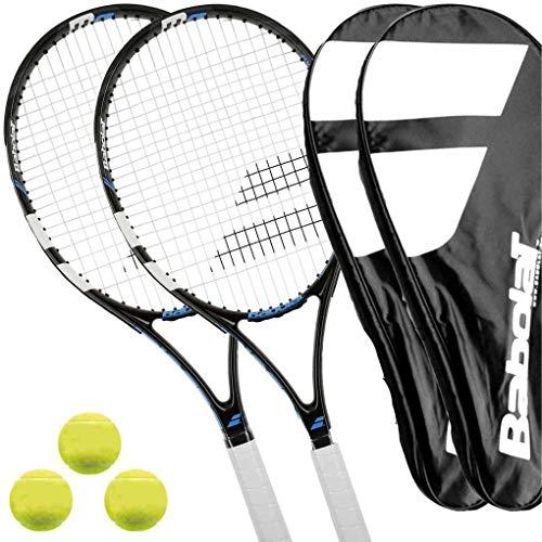 2 x Babolat Evoke Defiance - Tennisschläger besaitet L1/L2 + Cover + 3 Bälle