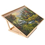 "SNAIL Wooden Jigsaw Puzzle Board & Bracket Set Portable Puzzle Plateau Kit with Holder of Double Adjusting Rods for Varied Sizes Puzzle Boards, 31"" x 23"" Large Jigsaw Puzzle Table for 1000PCS Puzzles"