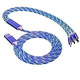 Teléfono móvil carga rápida 3 en 1 cable USB luminoso cable cargador móvil llevó el cable luminoso de datos de micro-iluminación