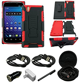 Mstechcorp - For ZTE ZMax Z970  T-Mobile MetroPCS  - Rugged Dual Layer Kickstand Combo Case with Belt clip Holster - Includes [Car Charger] + [Touch Screen Stylus] + [Hands Free Earphone With Carrying Case] + [2 Data Cables]  S RED