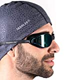 Taddlee Men Swim Cap PU Fabric Silicone Swimming Hat Pool Waterproof Sports Adult Swim Wear Accessories Large Size Outdoor(Gray)