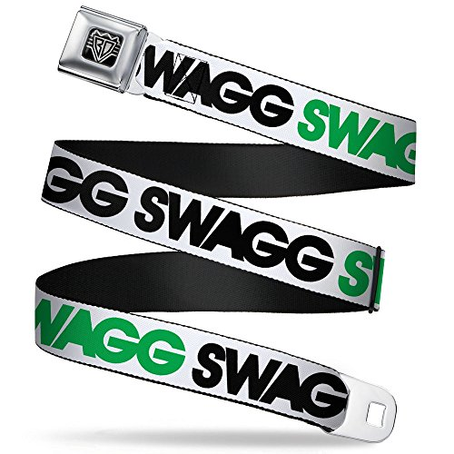 Buckle-Down Unisex-Adult's Seatbelt Belt Swag Quote Regular, SWAGG white/black/green 1.5' Wide-24-38 Inches