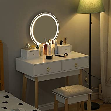 Dressing Table with Stool Makeup Table with Adjustable Light and Touch Screen White