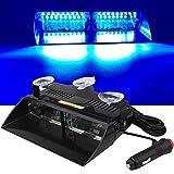 16 LED Luz estroboscópica de advertencia de emergencia Parabrisas 12V Vehículo Vehículo SUV Interior Roof Dash Parabrisas con ventosas (azul)