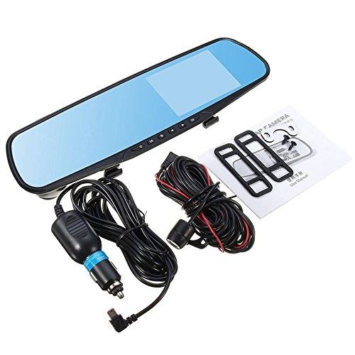 Swiftswan 4 Pouces écran 1080P HD Double lentille Voiture DVR Portable Dash Camera Reverse Mirror (Couleur: Noir et Bleu)