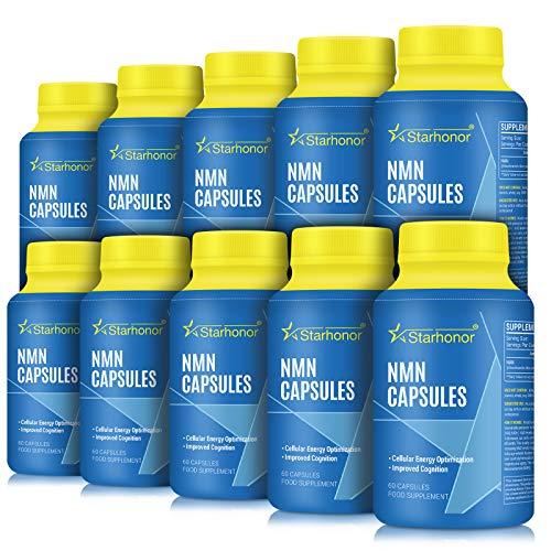 NMN Supplements 500mg Capsule, Pure Nicotinamide Mononucleotide - NAD+ Energy Booster & Anti-Aging & Antioxidant, Energy Metabolism, Vegan Friendly (10 Pack)