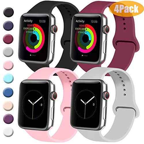 Tobfit 4 Pack Sport Bands Compatible with Watch Band 38mm 42mm 40mm 44mm, Soft Silicone Replacement Bands (Black/Gray/Wine Red/Pink, 38mm/40mm M/L)