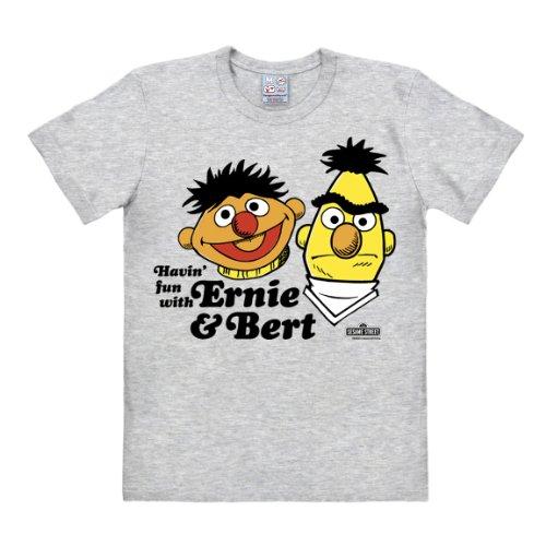 Logoshirt Ernie -T-Shirt - Ernie und Bert Shirt - Havin' Fun - Sesamstrasse T-Shirt Original - Rundhals T-Shirt grau meliert - Lizenziertes Originaldesign, Größe XS