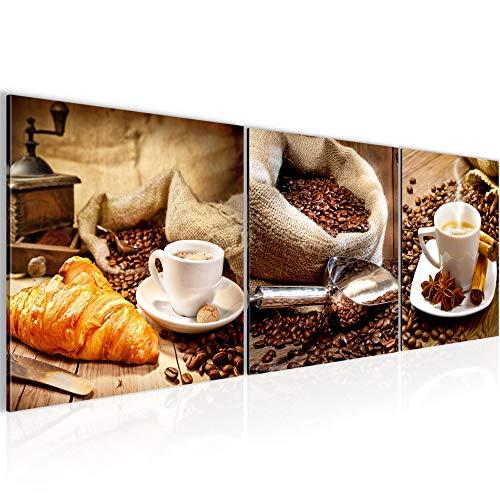 Bilder Küche Kaffee 3 Teilig Bild auf Vlies Leinwand Deko Wohnzimmer 90 x 30 cm Coffee Braun 504134a