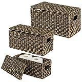 mDesign Juego de 3 cestas organizadoras – Elegantes cestas de almacenaje de jacinto de agua con tapa – Cajas de almacenaje con asas, ideales para guardar ropa, juguetes o revistas – negro