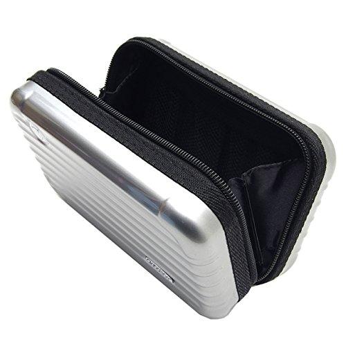GoodsLand 【 電子タバコ も入る 】 マルチ ハードケース 旅行 小物 収納 ガジェット ポーチ 化粧品 充電器 メイクケース GD-MAKECS-SV