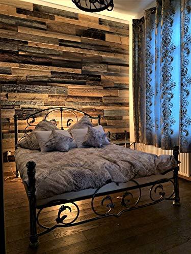 3D Altholz Wandverkleidung zum Kleben. Vintage Holz Verkleidung. Schnell anzubringende Wandpeneele. Tolle Holzdeko für die Wand. Echtholz Verblender - 2