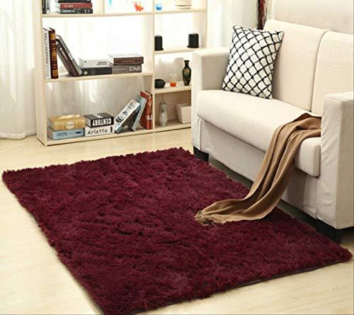 axnx Alfombra de seda súper suave para interiores, moderna, alfombra sedosa, para dormitorio, cuarto de bebé, alfombra para niños, 50 x 80 cm, color burdeos