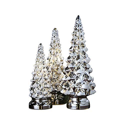 ART & ARTIFACT Twinkling Trees - LED Lighted Mercury Glass - Set of Three - Holiday Decor