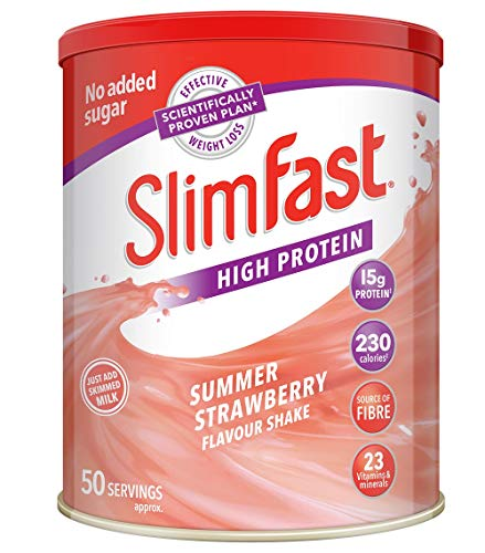 SlimFast High Protein Powder Meal Replacement Diet Supplement, Summer Strawberry, 50 Servings