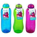 3 Sistema 460ml Drink Bottles, Aqua Blue, Lime Green, Pink by Online Kitchenware