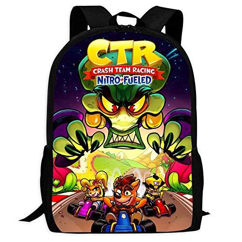 Kid's Crash Team Racing Nitro Fueled Kart Chase Travel Outdoor Rucksack Backpack Durable Multi-Function School Bag Purse Bookbag