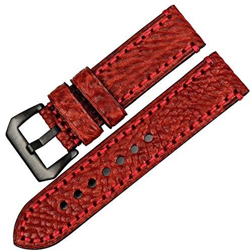 YaGFeng Correa 20 22 24 26 Mm Accesorios De Reloj Correa Panerai Correa De Cuero Italiano Pulsera De Reloj,Red2-24mm