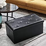 ASLIFE Folding Storage Ottoman Bench Foot Rest Stool Chest with Foam Memory Padded Seat Tufted, Holds Up to 350lb, 30 Inches Faux Leather, Black