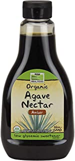 NOW Foods, Certified Organic Amber Agave Nectar, Raw Blue Agave, Certified Non-GMO, Low-Glycemic Sweetener, Kosher, 23.2-Ounce