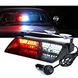 Xprite White Red 16 LED High Intensity Emergency Hazard Warning Strobe Lights w/Suction Cups for Volunteer Firefighter Law Enforcement Vehicles Truck Interior Roof Windshield Dash Deck Flash Light