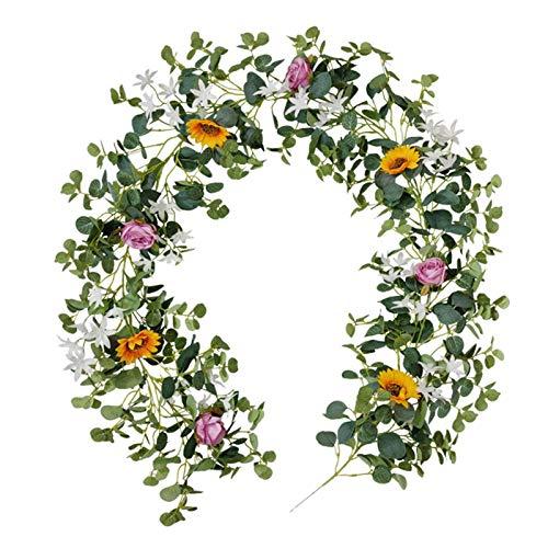 iBaste Guirnalda de girasoles artificiales para decoración de jardín, flores pequeñas de ratán, decoración de mesa de boda