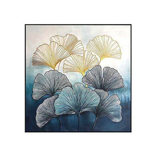 Pintura de pared Pintura al óleo pintada a mano Flor abstracta Pintura minimalista moderna Pintura decorativa Restaurante Pintura Luz Sofá negro Fondo Pared Pintura minimalista moderna