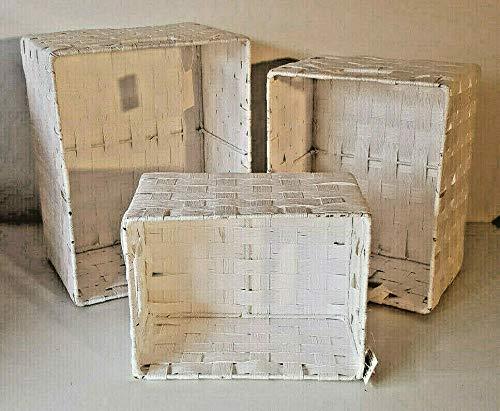 Juego de 3 cestas rectangulares de rafia, 3 tamaños, color blanco