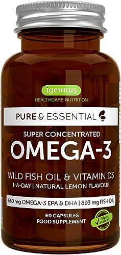 Pure & Essential Huile de Poisson Sauvage Oméga-3 Super Concentrée & Vitamine D3, 410 mg EPA & 250 mg DHA par capsule...
