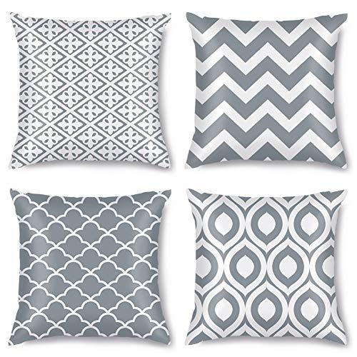 Artscope Juego de 4 fundas de almohada geométricas modernas con impresión de doble cara, fundas de cojín para sofá, coche, casa de campo, decoración del hogar, 45 x 45 cm, color gris
