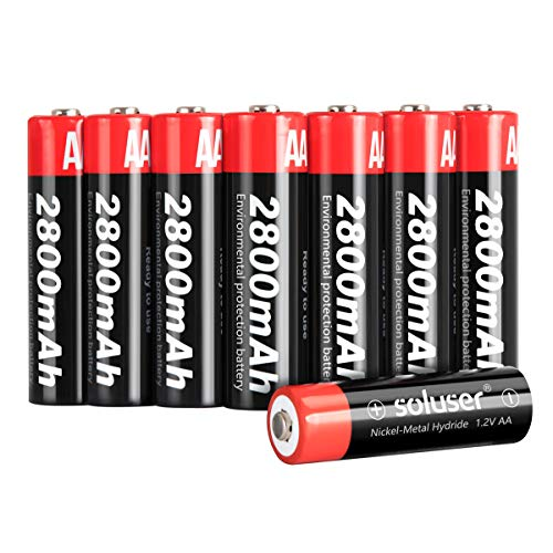 AA Rechargeable Batteries, AA Batteries Rechargeable 2800mAh High-Capacity AA Batteries 1.2V Ni-MH Low Self Discharge 8-Pack