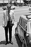 Poster Steve McQueen in Los Angeles mit Austin Mini Auto,