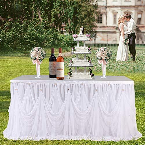 Tischrock Tüll-Tischtuch Chiffon Brosche Rüschen Weiß Tischrock für Hochzeit Geburtstag Party Babyparty Dekoration 2,5 m