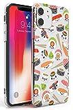 Hülle Warehouse Kawaii Sushi Mix-Muster Slim Hülle kompatibel mit iPhone 11 TPU Schutz Light Phone Tasche mit Klar Japanisch Lebensmittel JDM Karikatur