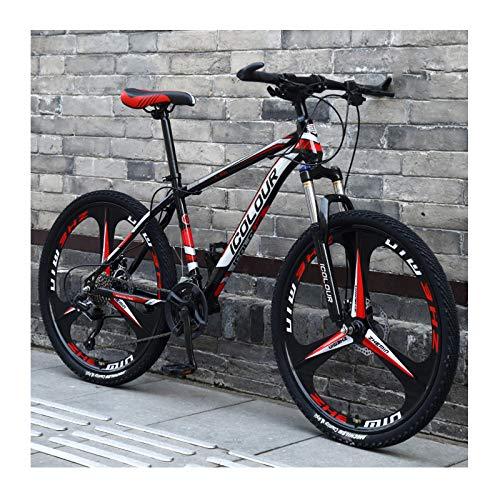 Bicicleta De Montaña De Aluminio Ligero De 24 Pulgadas Y 24 Velocidades, para Adultos, Mujeres, Adolescentes,Black Red