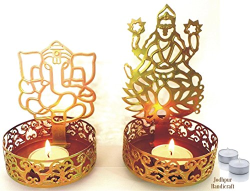 Jodhpur - Portavelas de tulipanes de la sombra Diya de Laxmi Ji Ganesh Ji como regalo de Diwali, regalo corporativo con 4 velas de té por Kitchen Supplier