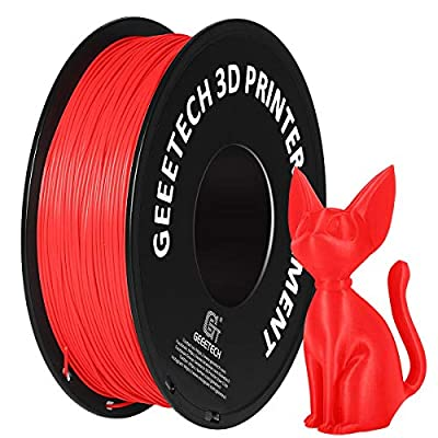 PLA Filament 1.75mm, GEEETECH New 3D Printing Filament PLA for 3D Printer and 3D Pen, 1kg 1 Spool (AA-Red)