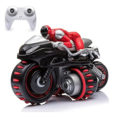 GRTVF 360° Rotating Drift Stunt Remote Control Motorcycle, Off-Road Motorcycles with Music, Auto-Balance RC Motorcycle, RC Motorbike with Lights, Gifts for Kids and Adults