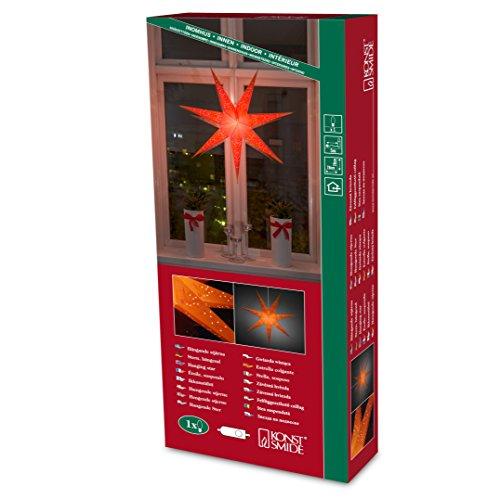 Konstsmide 2982-185 Étoile en Papier Intérieur avec Interrupteur sans Lampe 230 V Rouge Câble Blanc