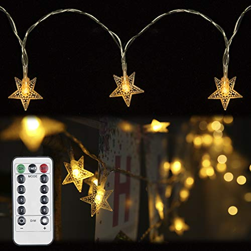 String Lights,Rymbo 34ft Indoor/Outdoor Star Shape Lights LED Warm White Twinkle Lights & USB Powered &Transparent String Cable & Remote Adapter