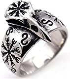 XBYN 2021 Mentes de Acero Inoxidable Anillo Vikingo, mitología nórdica Defend Temple Raven Hugin y Munin Amuleto Joyería de la Vendimia, Boyfriend Gift Mens Party Party Personality Ring (Size : 09)