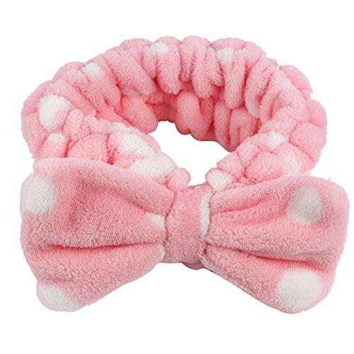 Joyfeel buy 1 joli nœud papillon pour le maquillage, le spa, la douche, texture confortable et respirante, pour les femmes et les filles (rose).