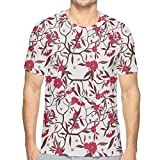 Mens T-Shirt,Floral Blooming Branches with Fresh Flowers Spring Garden Stars L