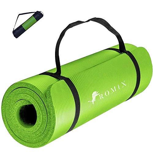 ROMIX Esterilla Yoga Antideslizante, 15MM Alta Densidad Gruesa y Suave Ecológica Almohadilla de Espuma de Memoria, Liviana Yoga Mat para Pilates Ejercicio Gimnasio Fitness Meditación Viaje (Verde)
