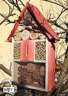 Caja nido para insectos Pajarera grande para insectos, completo con mariposa Hogar rojo barnizado, completo con mariposa C...