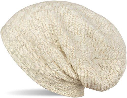 styleBREAKER warme Feinstrick Beanie Mütze mit Flecht Muster und sehr weichem Fleece Innenfutter, Unisex 04024058, Farbe:Creme-Beige
