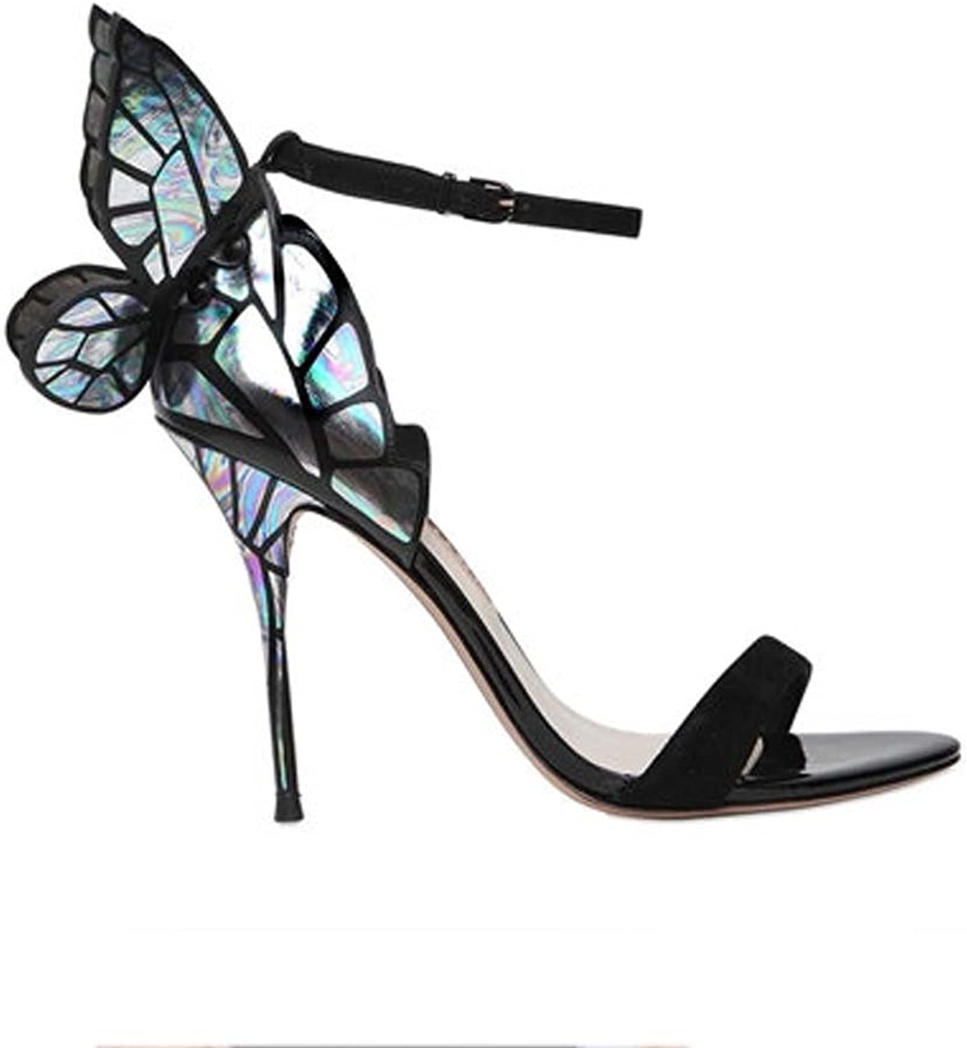 YANGXIAOYUgaogenxie The Summer color Butterfly Wing Black Suede with High Heels and Sandals.